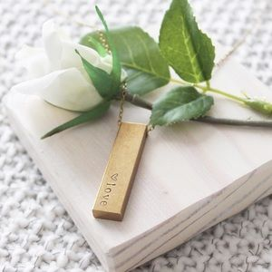 Raw Brass Personalized Necklace (J13)